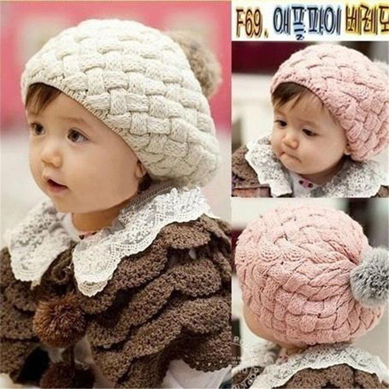 Kids Girls Baby Handmade Crochet Knitting Beret Hat Cute Warm Beanie Cap 4 Colors lovely 4 colors kids baby crochet knit cap knitting winter warm beret hat cap bb75