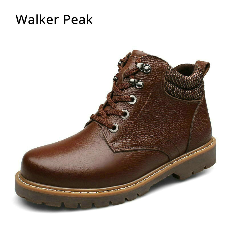 Mens Genuine Leather Boots Ankle Warm Snow Boots for Men Winter Shoes Fashion Cow Leather Basic Casual Shoes Big size Walkerpeak elevator shoes taller 2 56 inch winter genuine leather men boots fashion warm wool ankle boots men snow boots shoes hot sale