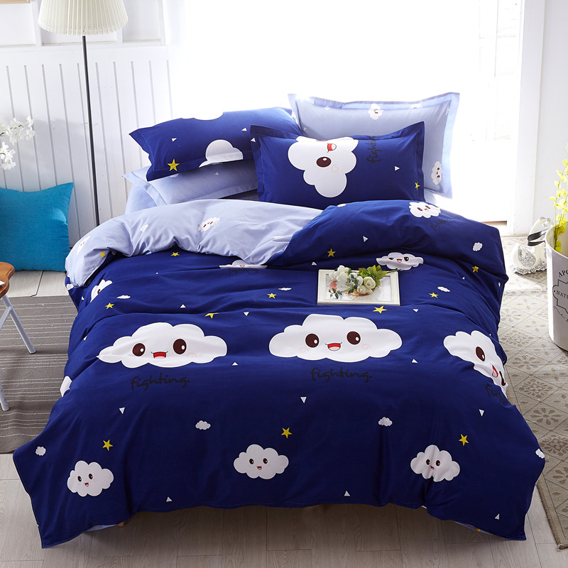 Cute Cloud Print Kids Twin Size Bed Sheet Sets Blue Sky