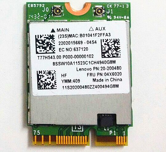 BCM94352 2x2AC+BT4.0 PCIE M.2 WLAN Adapter card For Lenovo Yoga 3 1370 Y50-70 Series ,FRU 04X6020 20200480