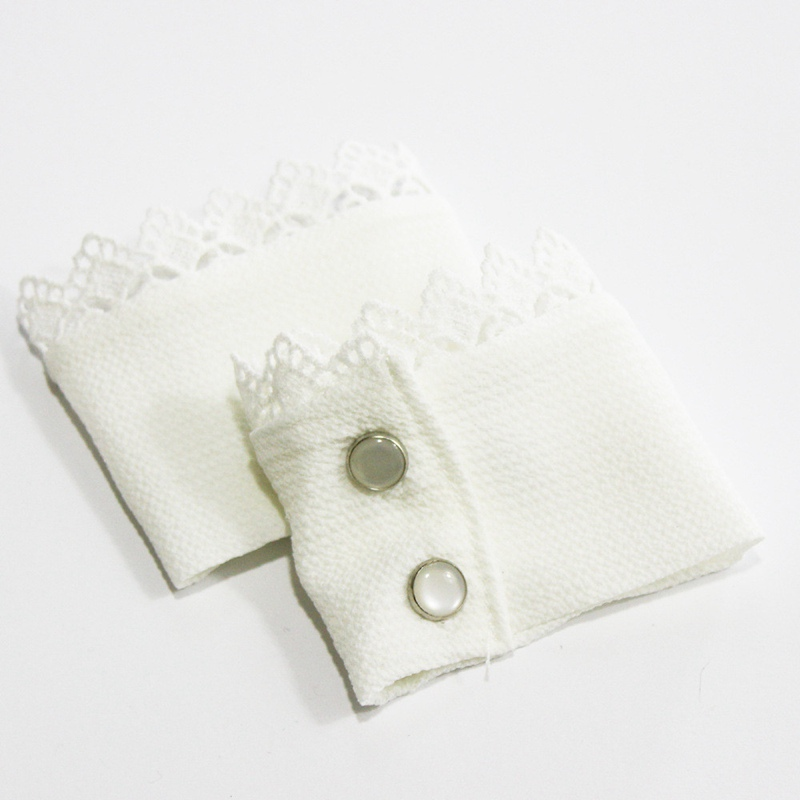 1Pair DIY White Lace Ruffled Fake Cuffs Triming Fabric Sweater Sewing Detachable Wrist Band Decorative Sleeves BBB0605