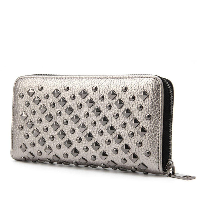 2017 New Fashion Women Lady Punk Faux Leather Clutch Wallet Rivet Holder Mini Purse Zipper Elegant High Quality Black Silver пена монтажная макрофлекс профессиональная 750 мл