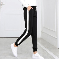 2017 Autumn And Winter Women Casual Sweatpants Black White Striped Printed Side Pant Ladies Loose Trousers