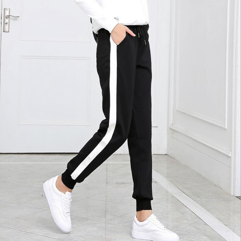 Spring And Summer Women Casual Sweatpants Black White Striped Printed Side Pant Ladies Loose Trousers Joggers Sweat Pants