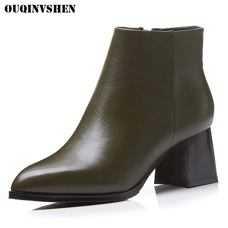 OUQINVSHEN Pointed Toe Square Heel Women Boots Genuine Leather Women Ankle Boots Winter Short Plush Zipper Ladies Boots Shoes ouqinvshen round toe lace up women boots fashion mixed colors women ankle boots new winter short plush cross tied ladies boots