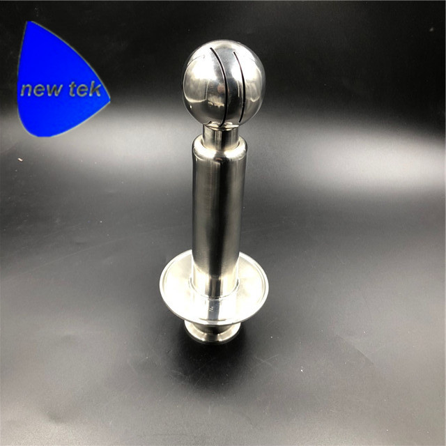 "Rotating CIP Spray Ball 1.5"" Tri Clover Compatible Inlet Welded In 3"" Tri Clover Compatible Tri Clamp Cap"