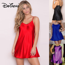 Ladies Sexy Silk Satin Night Dress Sleeveless Nighties O-neck Nightgown Plus Siz