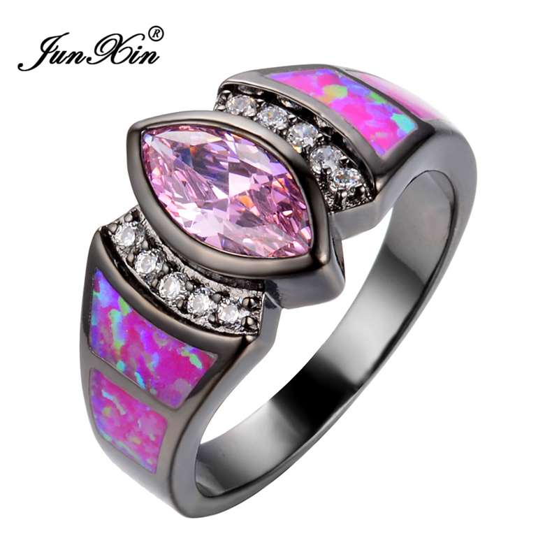 size 6789 jewelry women wedding hot pink opal rings colorful cz 10kt black gold filled engagement ring fashion style - Pink Wedding Ring