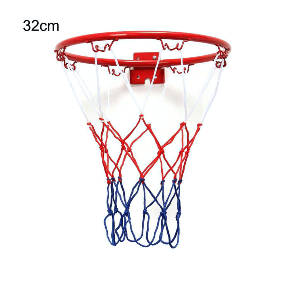 Children Kids 32cm Stainless Steel Basketball Ring Hoop Net With Screws Mounted Goal Hoop Rim Net Sports Netting Indoor Outdoor
