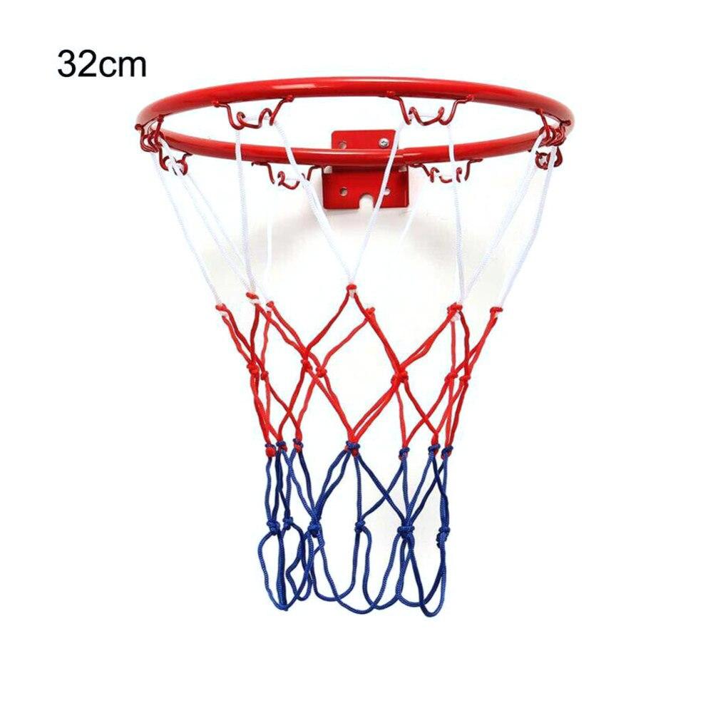 Children Kids 32cm Stainless Steel Basketball Ring Hoop Net With Screws Mounted Goal Hoop Rim Net Sports Netting Indoor Outdoor