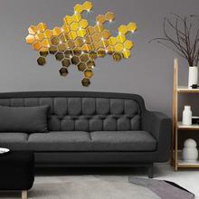 12Pcs Acrylic 3D Hexagon Mirrors Wall Sticker