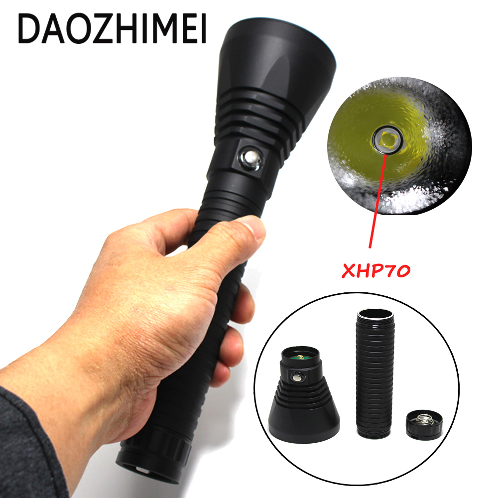 2018 New LED Diving Flashlight  XHP70 5000 Lumens White Light Underwater 100M Waterproof Scuba Torch 26650 Battery Charger new 2000 lumens cree xm l2 led diving flashlight torch 100m underwater waterproof scuba lantern 26650 battery charger