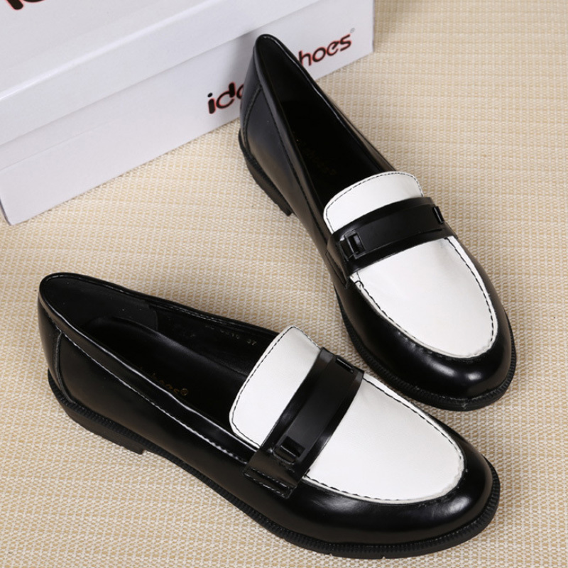 a3451f81747bd Fashion Casual slip on Leather shoes woman Black white women loafers ...