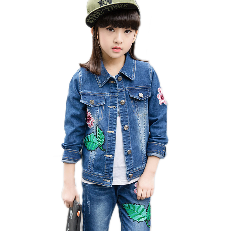Fashion Clothing Kids Cowboy Embroidery Floral Suit Children Girls Sports Denim Baseball Clothes girls Denim Jacket + Pants 2pcs baby fashion clothing kids girls cowboy suit children girls sports denimclothes letter denim jacket t shirt pants 3pcs set 4 13