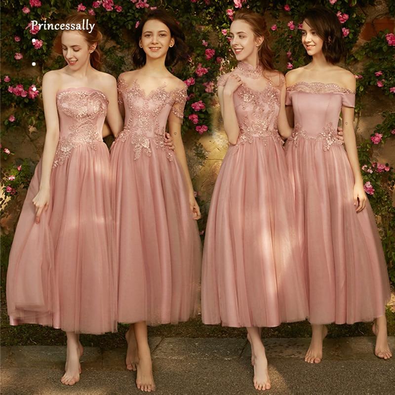 Robe De Soriee New Simple Wedding Dress Full Sleeve Lace: Robe De Soriee New Dusty Rose Bridesmaid Dress LaceTea