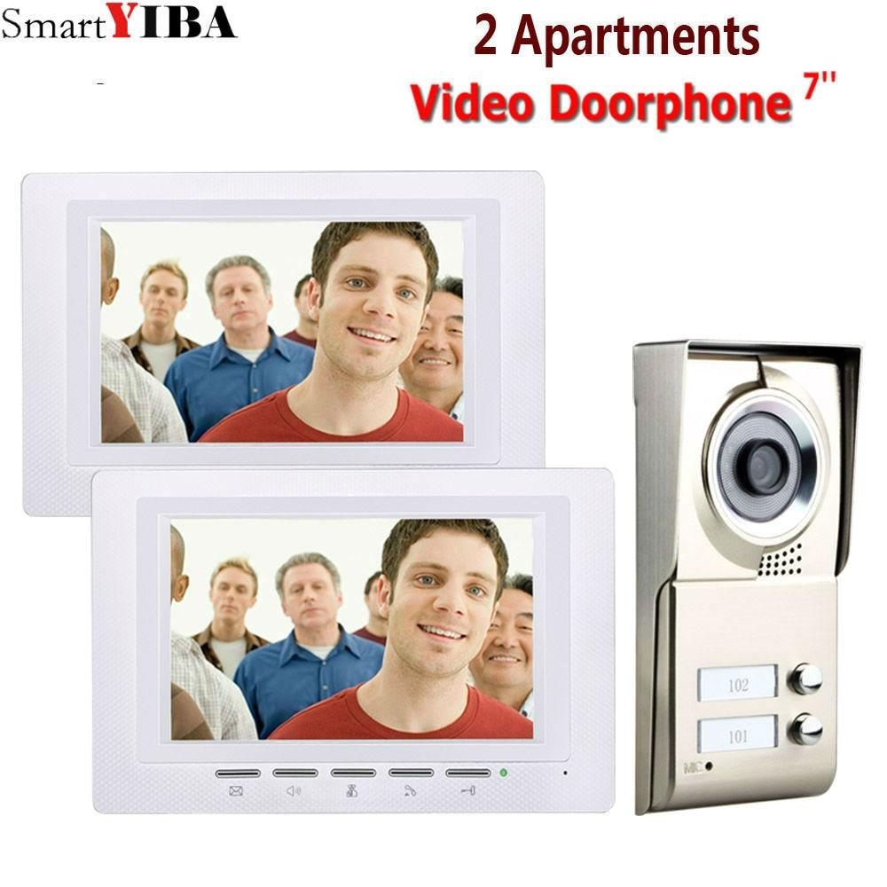 SmartYIBA 7inch Video Intercom Apartment Flats Video Doorbell Intercom system For 2 Flats Door IR Camera