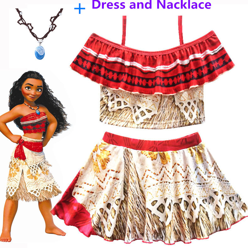 2019 Princess Moana Cosplay Costume for Children Vaiana dress Costume with Necklace for Halloween Costumes for Kids Girls Gifts in Dresses from Mother Kids