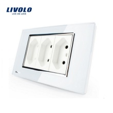 Livolo Wall Powerpoints White/Black 3 Pins Socket,118mm*72mm,10A, 250V, Without Plug,VL-C3C3BIT-81/82,Brazilian/Italian Standard