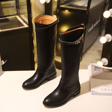2018 Stylish Winter knee high boots Women flat heel buckled strap shark lock round toe ladies knight long boots botas feminia