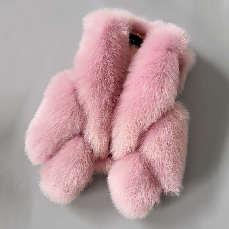 2018 Winter Girls Faux Fur Vests Solid Warm Children Waistcoats Kids Sleeveless Jackets Coats Baby Girls Fox Fur Coat new fox fur vests for girls thicken warm waistcoat children vest baby girls faux fur jackets winter kids outerwear coats 2 12y