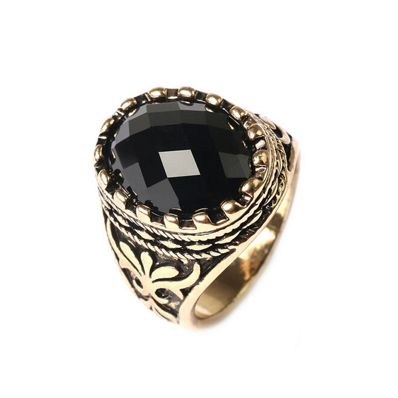 Hot Men Ring Jewelry Ancient Gold Color Unique Carved Black Stone