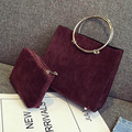 vintage women bag metal circle top-handle shoulder bag fashion high quality scrub PU leather handbags tote composite bag 2016