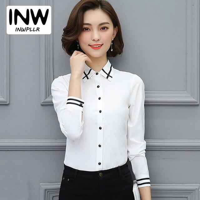 f281b96f28 Blusas de gasa Mujer Moda 2019 otoño talla grande Tops mujeres OL blanco camisas  mujeres Ete