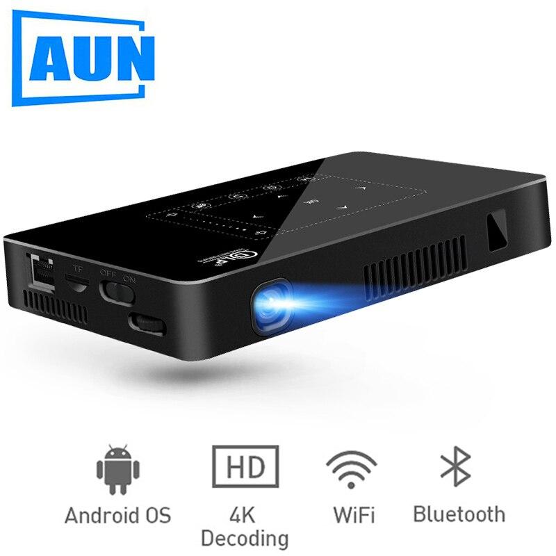 AUN MINI proyector D8I 2G + 16G Android Beamer 1280*720 de resolución construido en WIFI de apoyo 1080 p 4 K LED proyector (opcional D8)