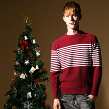 2017 winter Men cotton striped o-neck knitted sweaters red Christmas pullover male sueter hombre pull masculino