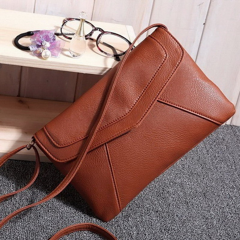 Casual Vintage Small Women Bags Leather Messenger Bag Retro Envelope Bag Handbag and Purse Sling Crossbody Shoulder Bag Thin simple chain ring leather mini women crossbody bags small women splice bag messenger shoulder sling purse lady handbag with pink
