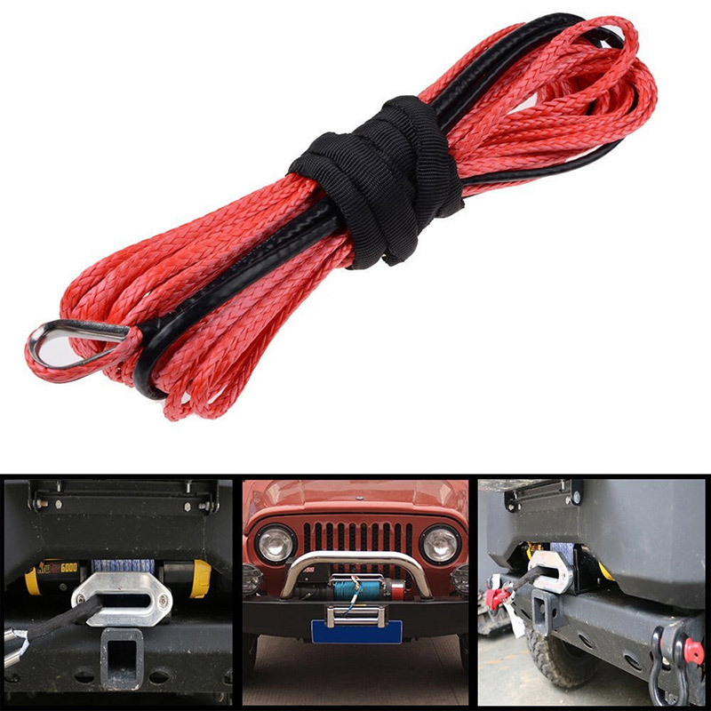 15m*6mm 1/4'' x 50' 7000lbs Red Synthetic Winch Rope Cable Line With Hook for ATV UTV Off-Road