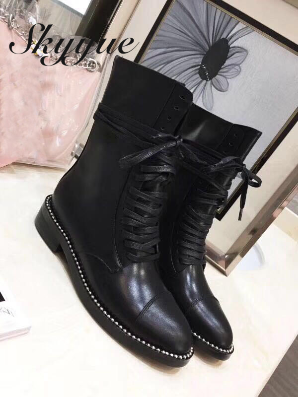 SKYYUE Genuine Leather Gladiator Lace Up Women Boots Round Toe Metal Deco Punk Boots Brand Winter Ankle Boots Shoes Women moraima snc winter fashion women lace up boots flower print mixed colors metal decoration platform round toe gladiator boots