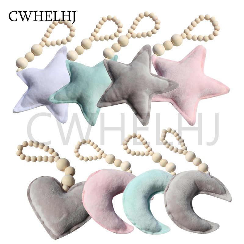 Nordique perles en bois lune étoile coeur enfants chambre tenture murale décoration bébé tentes ornements décoratifs poussette accessoires cadeaux