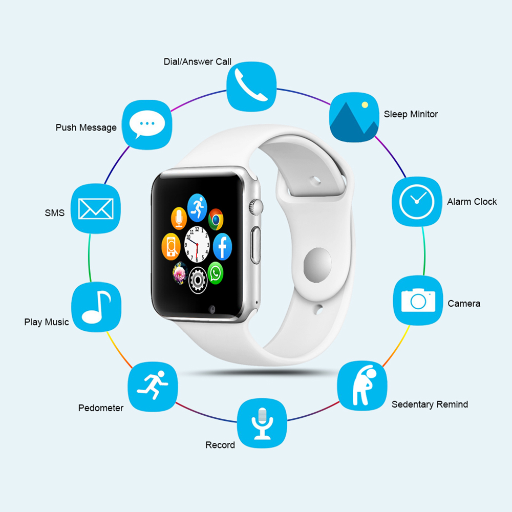 Image 2 - A1 Smart Watch Men For Android Phone Apple Watch Support 2G Sim TF Card 0.3MP Camera Bluetooth Smartwatch Women Kids-in Smart Watches from Consumer Electronics