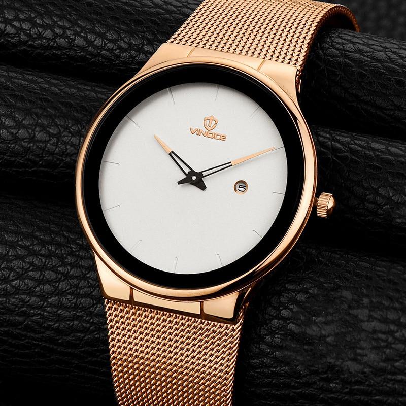 VINOCE Luxury Brand Mens Sports Steel Watches Waterproof Military Watch Men Fashion Casual Quartz Wristwatches Relogio Masculino