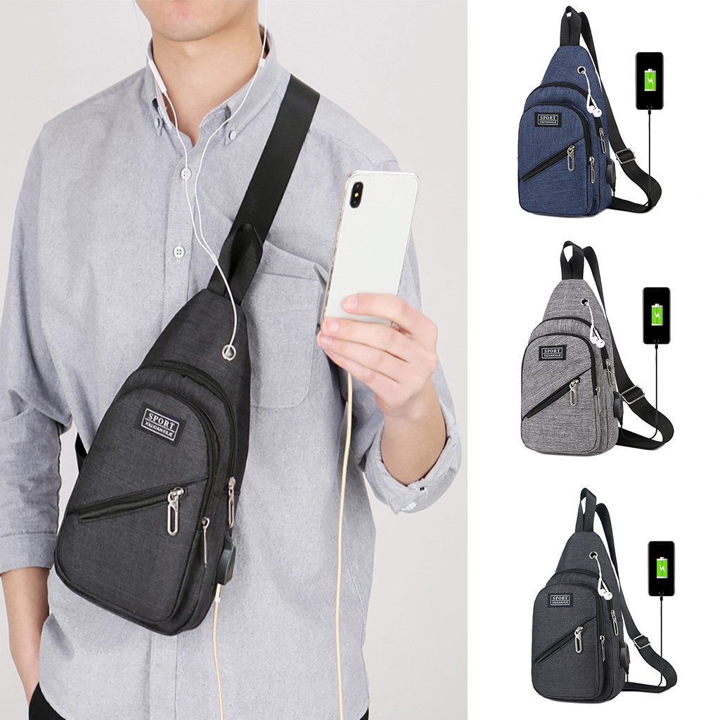 Men's Fashion Casual Outdoor Sports Chest Bag USB Charge Shoulder Messenger Bag#25(China)