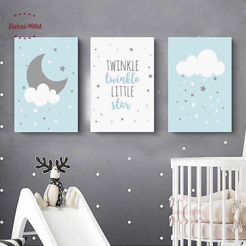 Nursery Baby Room Wall Decoration Cartoon Cloud Moon Posters Canvas Painting Pictures Blue Wall Art Posters and Prints NUR41