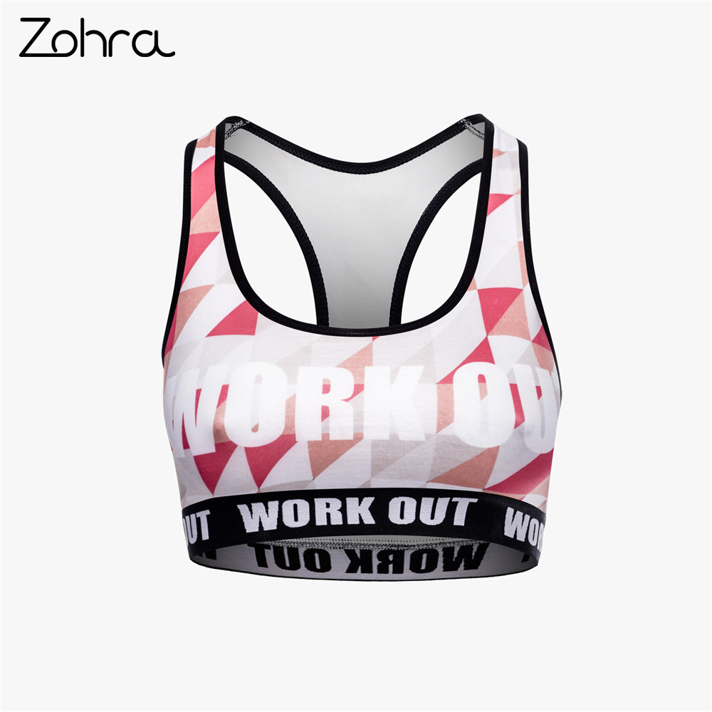 Zohra High Quality Women Fitness Bra Red Triangle Printing Grey Tops Woman Breathable Short Clothes
