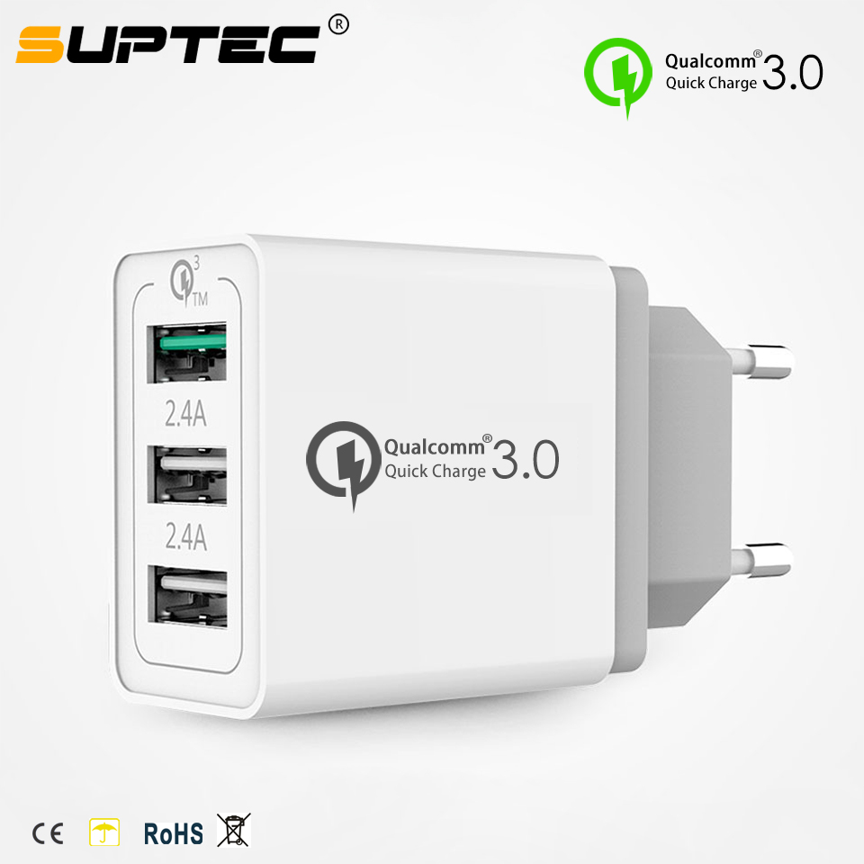 SUPTEC 3 Port Quick Charge QC 3.0 USB Wall Travel Charger for iPhone X 8 7 iPad Samsung S9 Huawei EU/US/UK Fast Charging ChargerSUPTEC 3 Port Quick Charge QC 3.0 USB Wall Travel Charger for iPhone X 8 7 iPad Samsung S9 Huawei EU/US/UK Fast Charging Charger