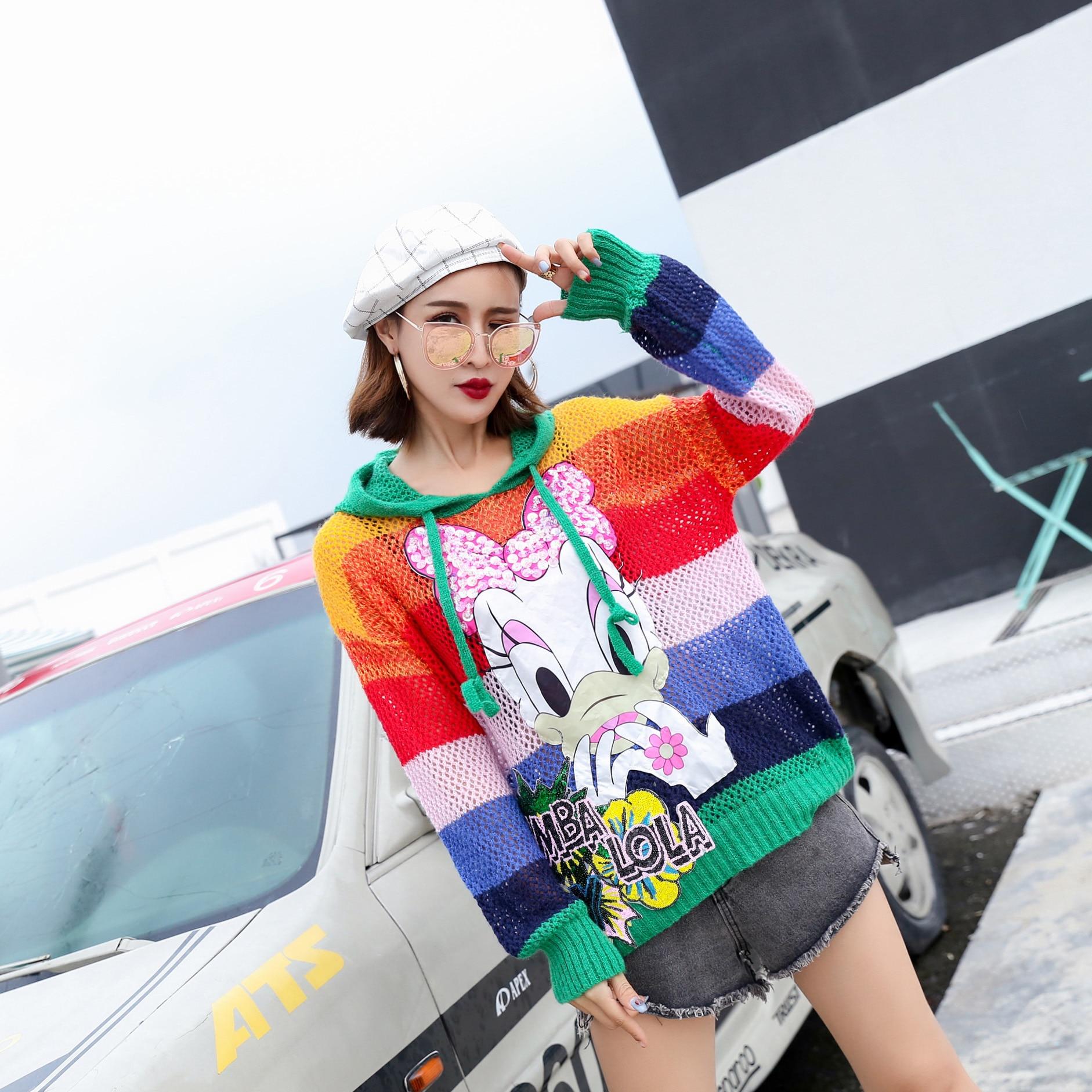 Thaïlande marée marque 2018 nouveau Harajuku chandail à capuche femmes tête lâche canard paresseux laine manteau arc-en-ciel dames chandail hiver