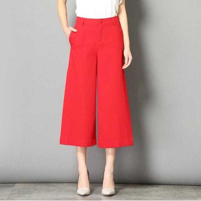 Fashion Summer Capri Pants Women Slacks Casual Loose Wide Leg Pants Female Trousers Plus Size