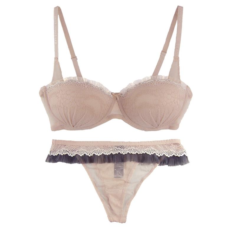 Image 5 - Mierside  Sexy Lace Push up Bra Women Underwear Beige Padded Bra and Thongs or UnderwearBra & Brief Sets   -
