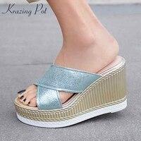 Krazing Pot 2019 sheep leather streetwear platform wedges handmade charming mules straw bottom extreme high heels sandals l6f1