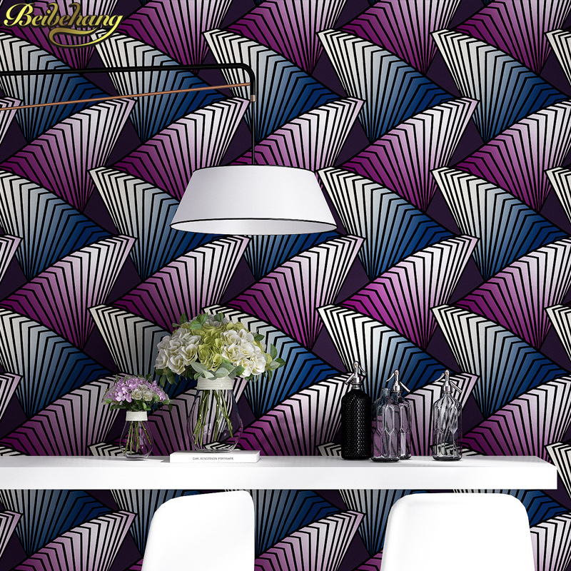 beibehang papel de parede 3D Abstract geometric striped pattern wallpaper for walls 3 d wall paper roll KTV bar hotel decoration beibehang gold foil wallpaper solid color 3d earthhill gold wallpaper roll hotel ktv wallpaper for walls 3 d papel de parede