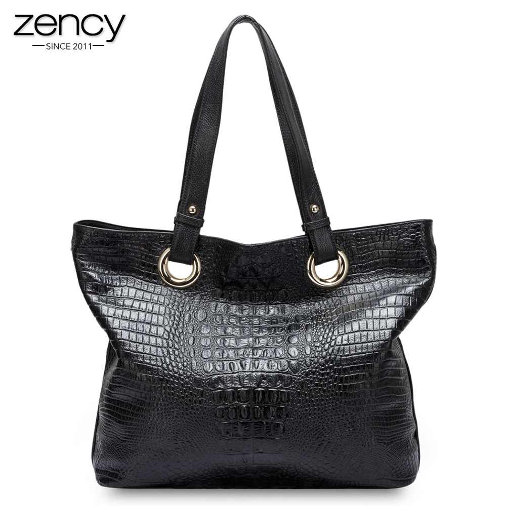 Zency Alligator Women Shoulder Bag 100% Genuine Leather Handbag Crocodile Large Capactiy Lady Messenger Crossbody Purse <font><b>Big</b></font> Bags