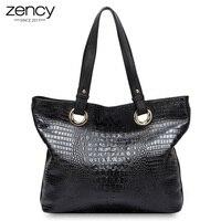 Zency Alligator Women Shoulder Bag 100 Genuine Leather Crocodile Large Capactiy Female Messenger Charm Handbag Bolso