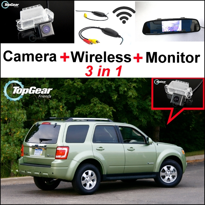3 in1 Special Rear View Camera + Wireless Receiver + Mirror Monitor DIY Parking System For Ford Escape 2008~2012 3 in1 special rear view camera wireless receiver mirror monitor parking system for ford ecosport 2013 2015