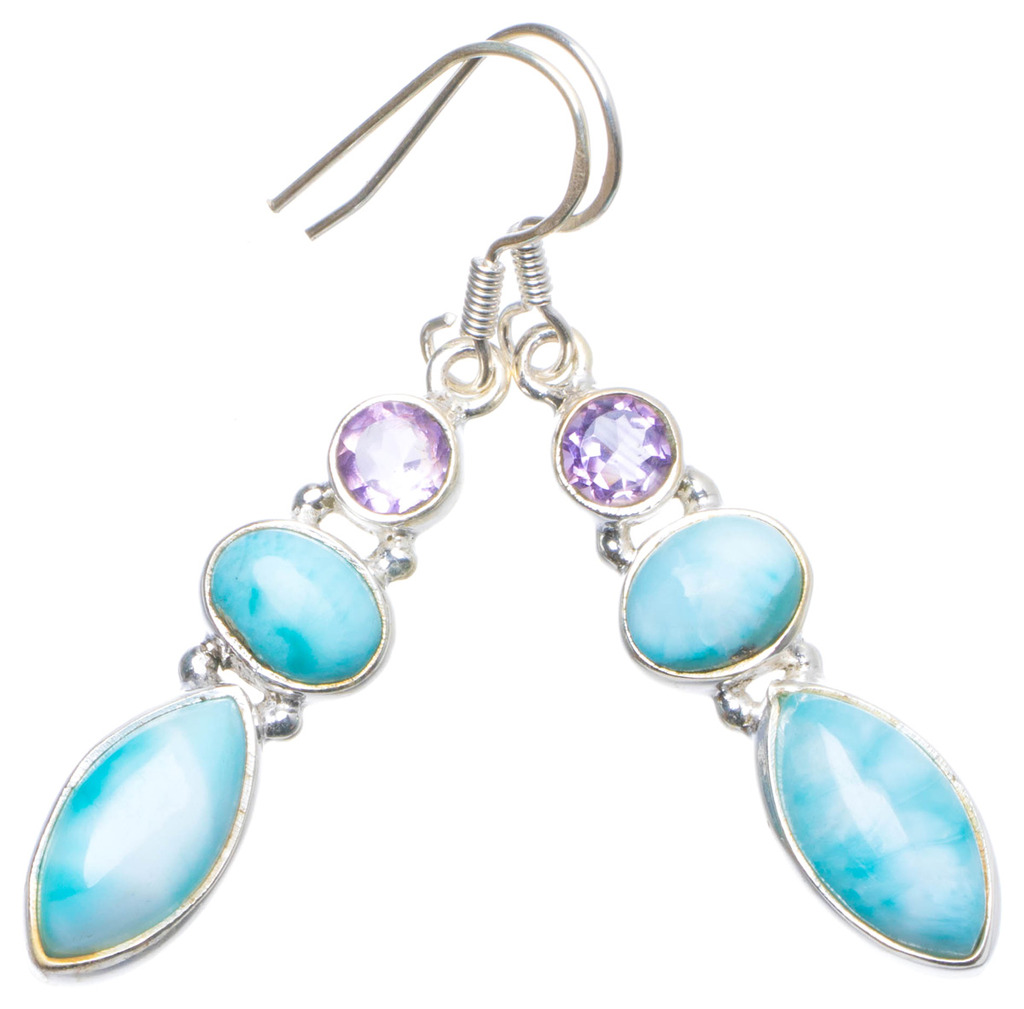 Natural Caribbean Larimar and Amethyst Handmade Unique 925 Sterling Silver Earrings 1.75 X4958