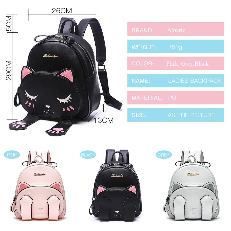 dfdf4939b0 Amarte Women Cute Cartoon Cat Backpacks New Women Leather Backpacks Mini  Girls Small Fashion Casual Women Back Pack Mochila Gato-in Backpacks from  Luggage ...