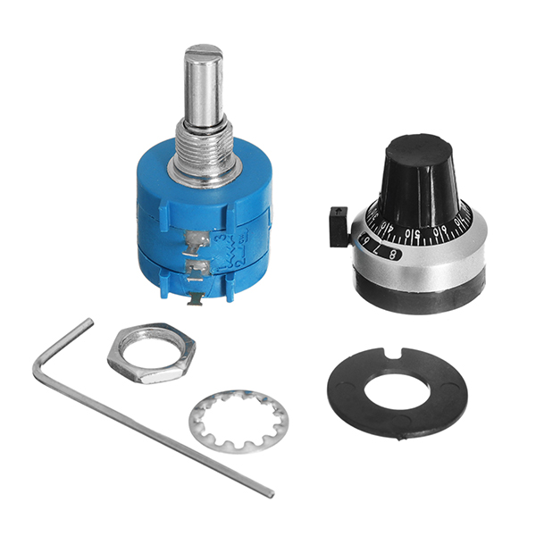3590 10 Turn Potentiometer 100k Ohm Wirewound Multiturn Adjustable Resistor Precision with Rotary Dial Knob 6mm Shaft